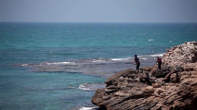 이스라엘, 텔아비브, 해변, 낚시