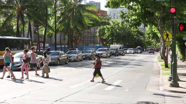하와이 Kuhio Avenue 도로풍경