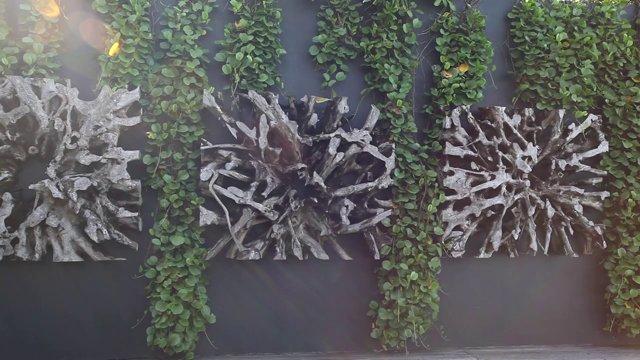 푸른 잎이 있는 벽