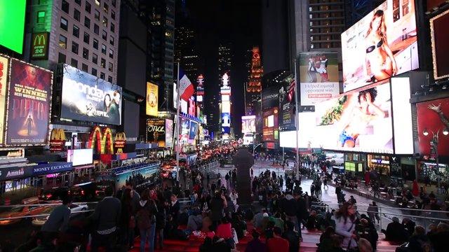 저녁의 뉴욕 타임스 스퀘어